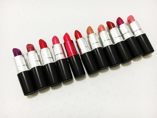 L - R: Herione, Plumful, Damn Glamorous, Steady Going, Viva Glam Miley Cyrus, All fired up, Blankety, Creme Cup, Russian red, Flat out fabulous, Lovelorn